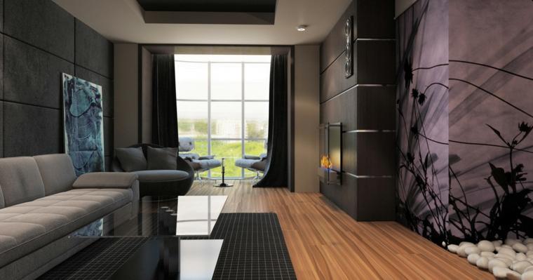 Parete attrezzata con camino su una parete con pannelli neri, soggiorno con pavimento in legno