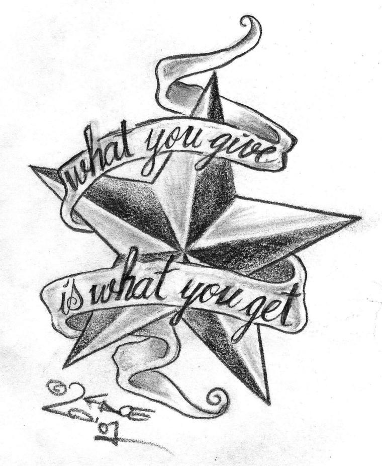 Tatuaggi con scritte e un'idea con una stella nautica, disegno a matita per un tattoo piccolo