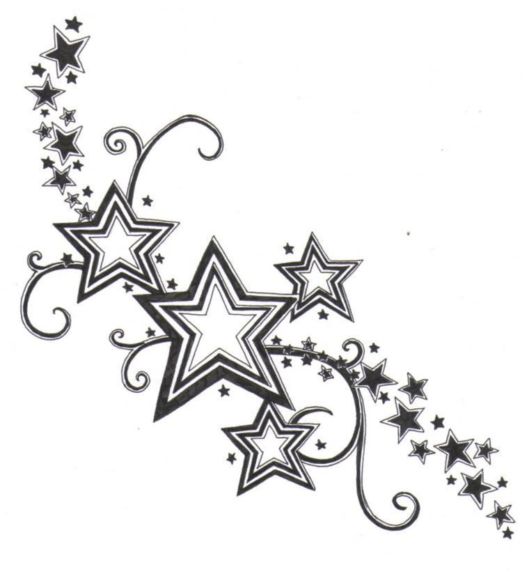 Stelline tattoo grandi e piccole su un disegno fatto a matita