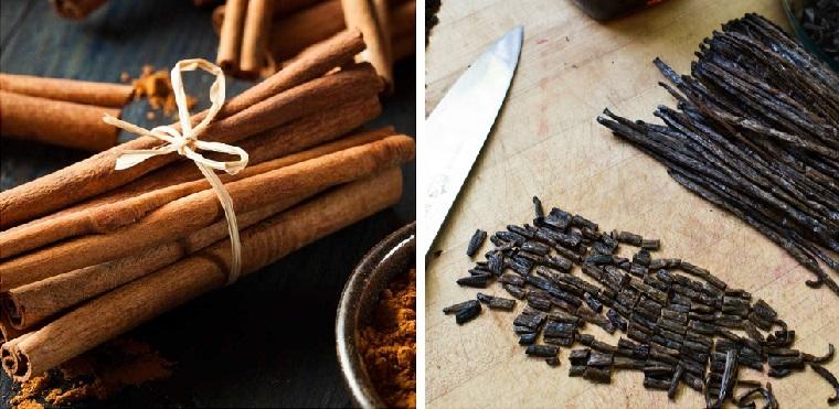 Colazione senza carboidrati, stecchi di cannella e vaniglia tagliata a pezzettini come alternativa allo zucchero
