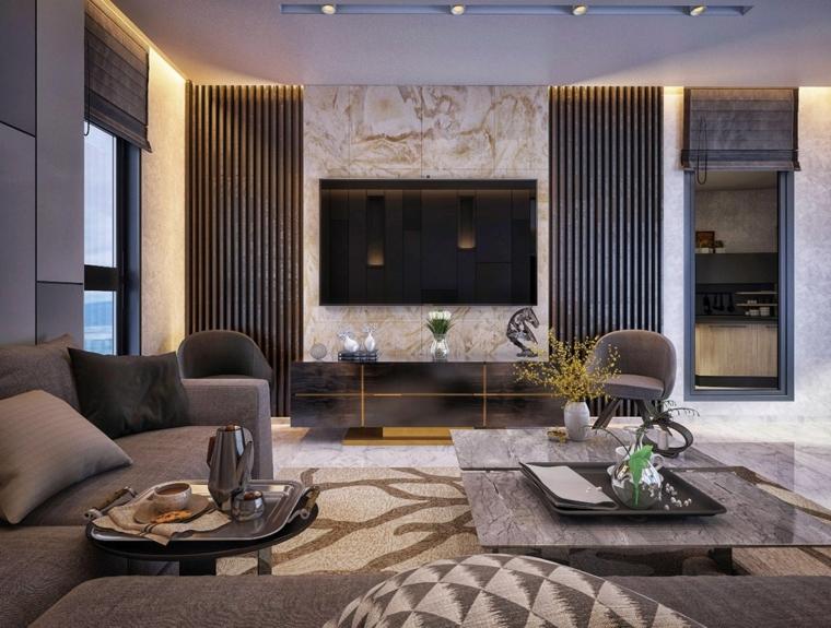 Pareti soggiorno con pannelli decorativi e arredamento con divani e tavolini bassi caffè