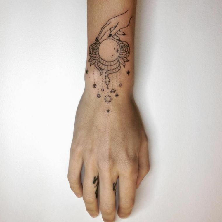 I tatuaggi più belli e un'idea con un disegno sul polso di una mano