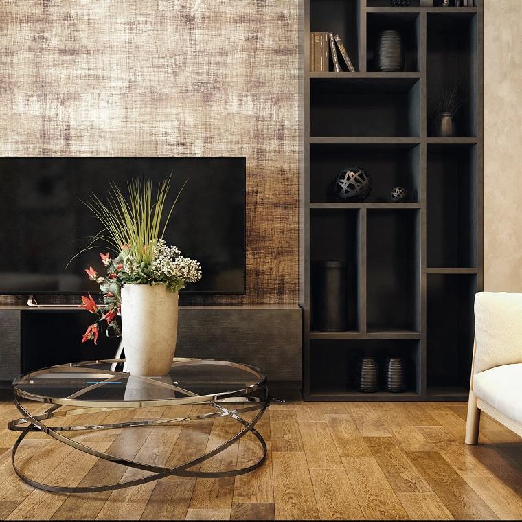 Soggiorni componibili e un'idea di arredamento con un tavolino di vetro e libreria nera con scaffali