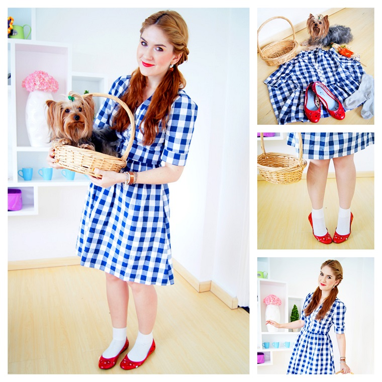 Costumi Halloween originali, ragazza vestita come il personaggio Dorothy dal Mago di Oz