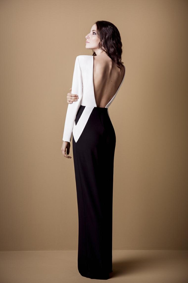 Abiti da cerimonia lunghi e un'idea abbigliamento con vestito bianco e nero con la schiena scoperta