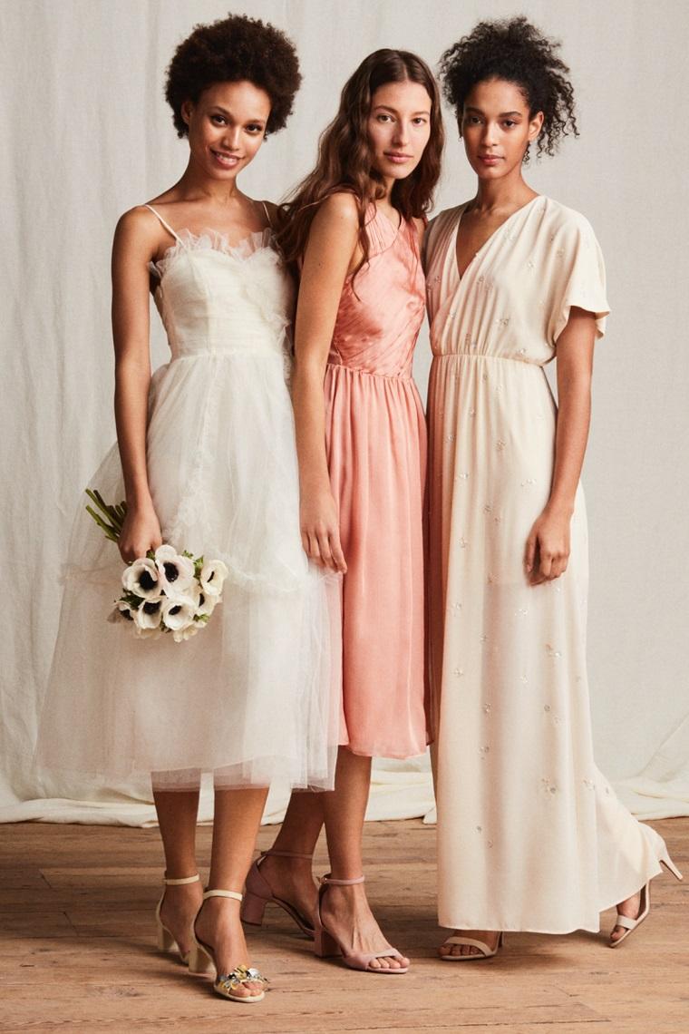 Vestiti lunghi estivi ideali per una cerimonia, vestiti di colore bianco e rosa