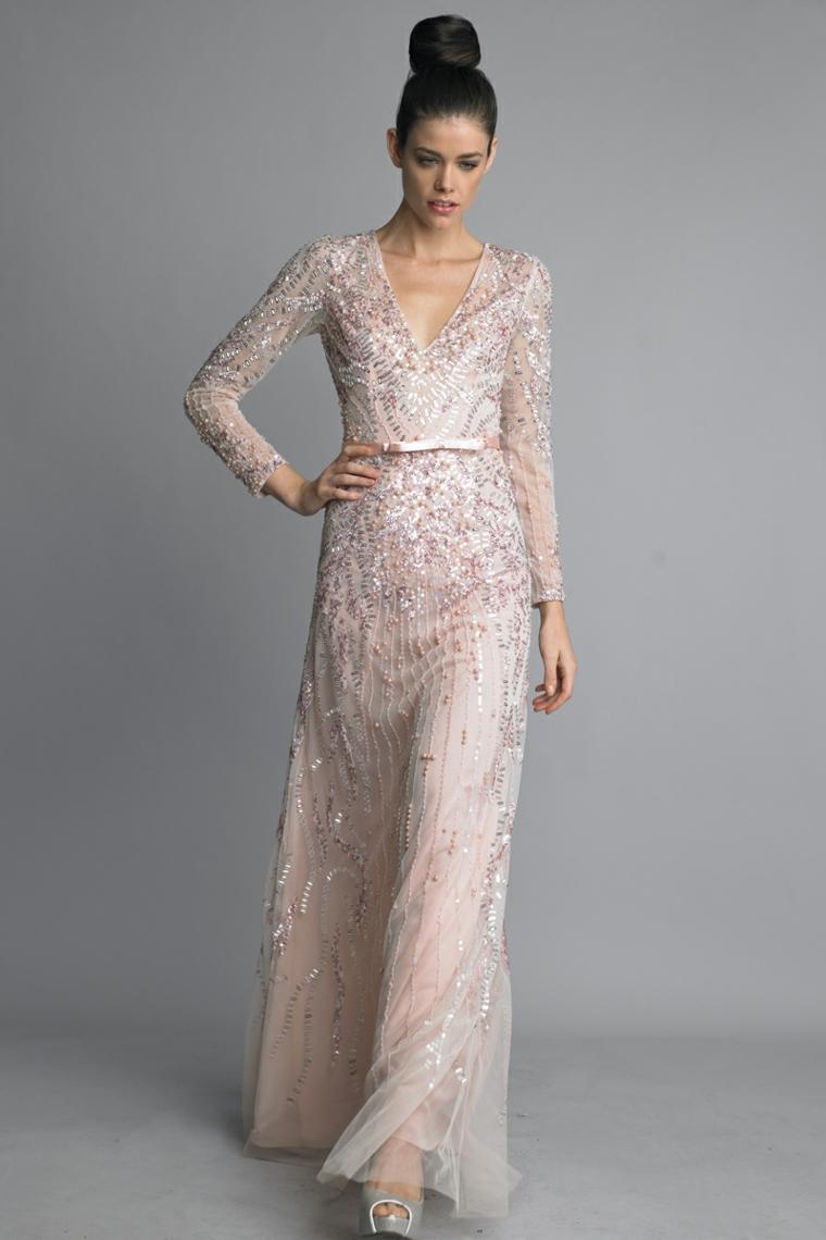 Abiti da cerimonia lunghi, vestito di colore rosa con cintura e lustrini