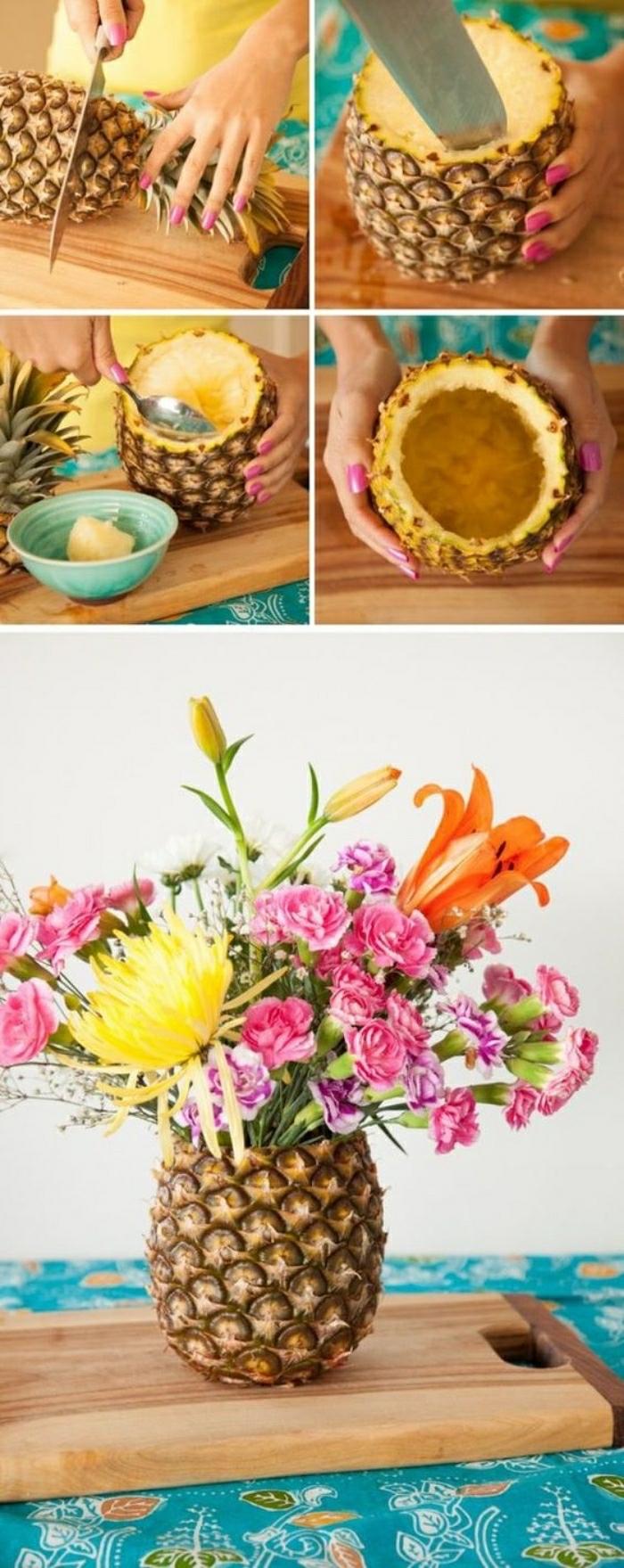 Idee lavoro creativo con un ananas, tutorial per creare un vaso per i fiori