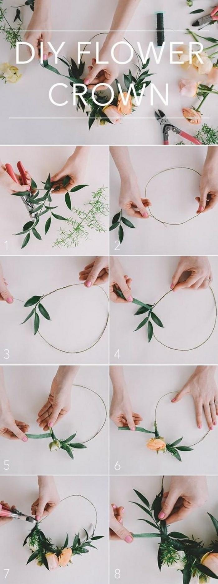 Lavori artigianali fai da te con filo di ferro e fiori finti per realizzare un cerchietto floreale
