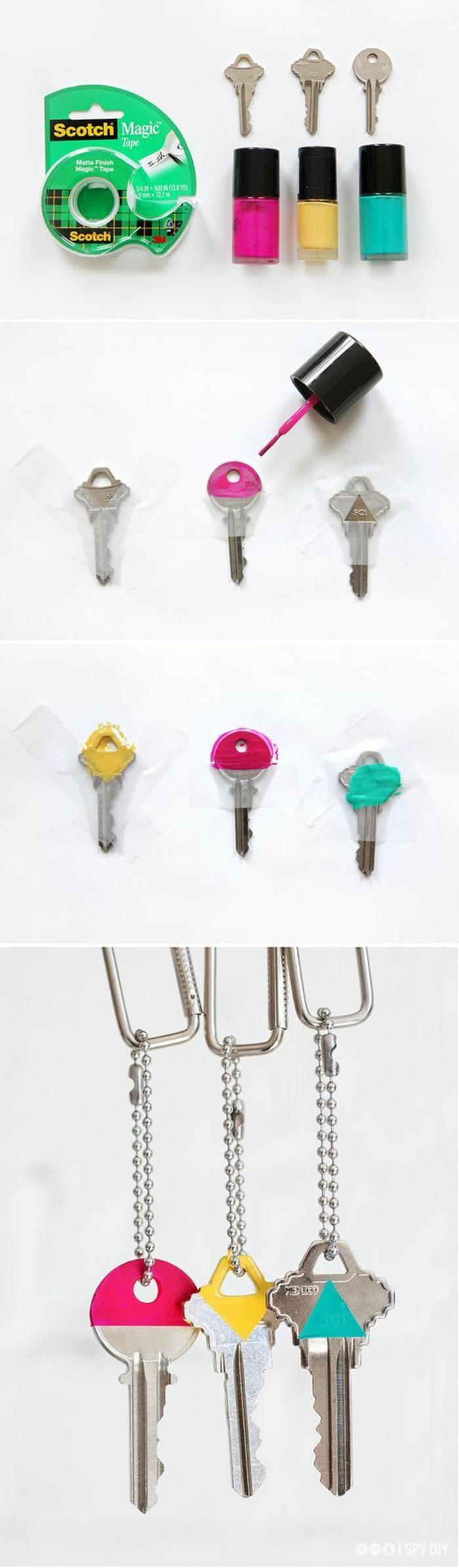Dipingere le chiave con degli smalti colorati per riconoscerli meglio
