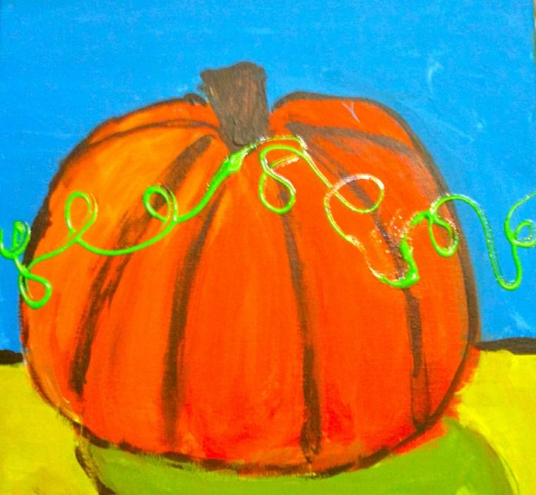 Zucca di Halloween disegno, pittura con colori acquarello e bordi marroni