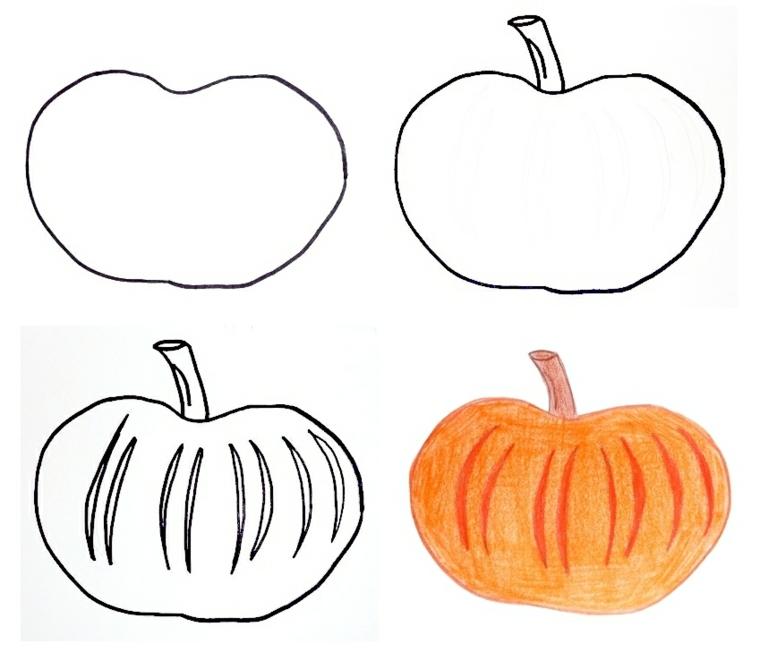 Idea per disegnare una zucca con tutorial passo per passo