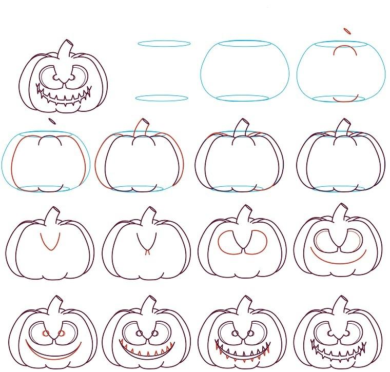 Tutorial disegno zucca halloween passo per passo in un diagramma