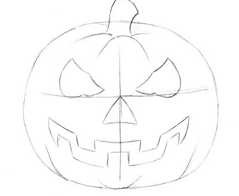 Disegno zucca di Halloween a matita con faccia paurosa e denti grandi