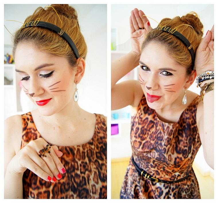 Trucco per Halloween facile con una faccina di gatto, abito con stampa leopardo e cerchietto con orecchie