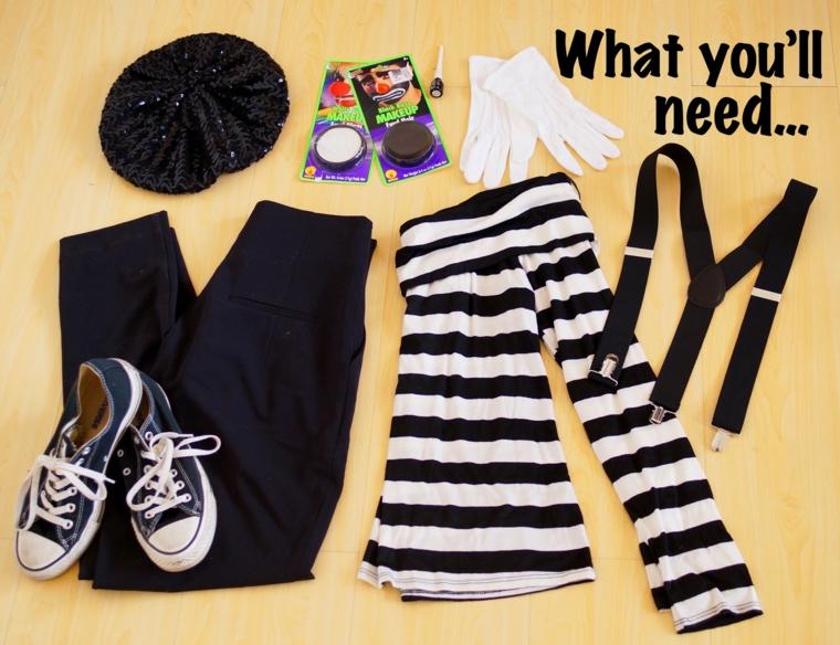 Vestiti Halloween fai da te, abbigliamento con maglietta, pantalone e accessori per travestirsi da un mimo