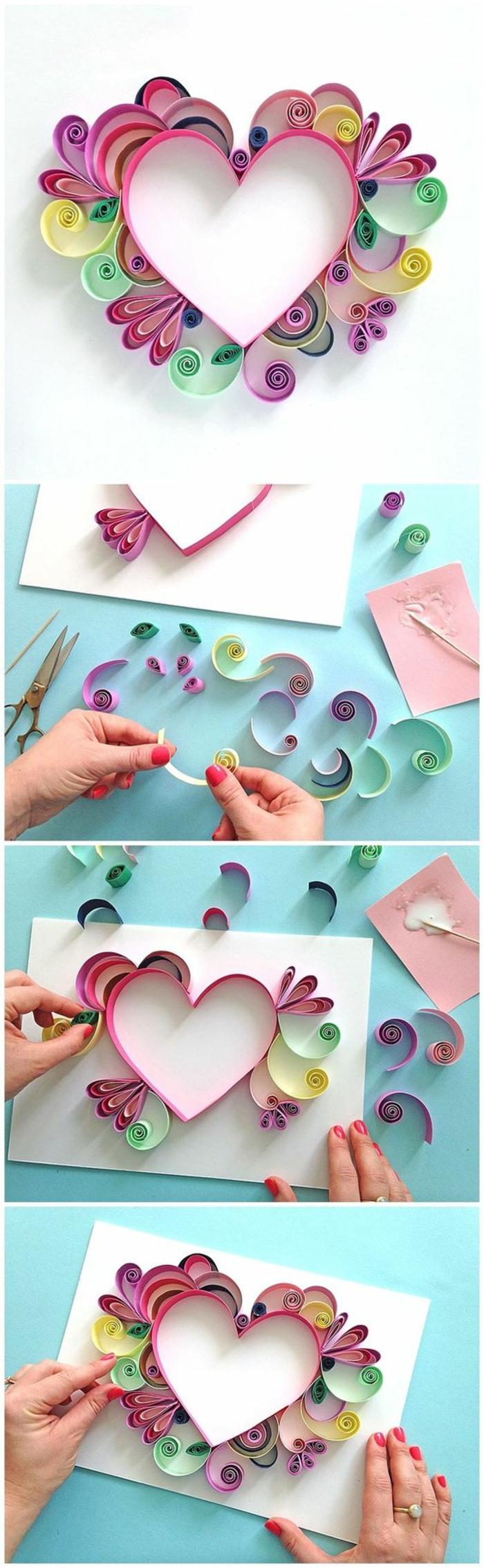 Creare un cuore di carta colorato, piegare i cartoncini e incollarli con della colla