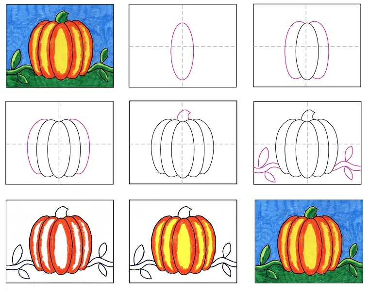 Come disegnare una zucca con il tutorial in un diagramma