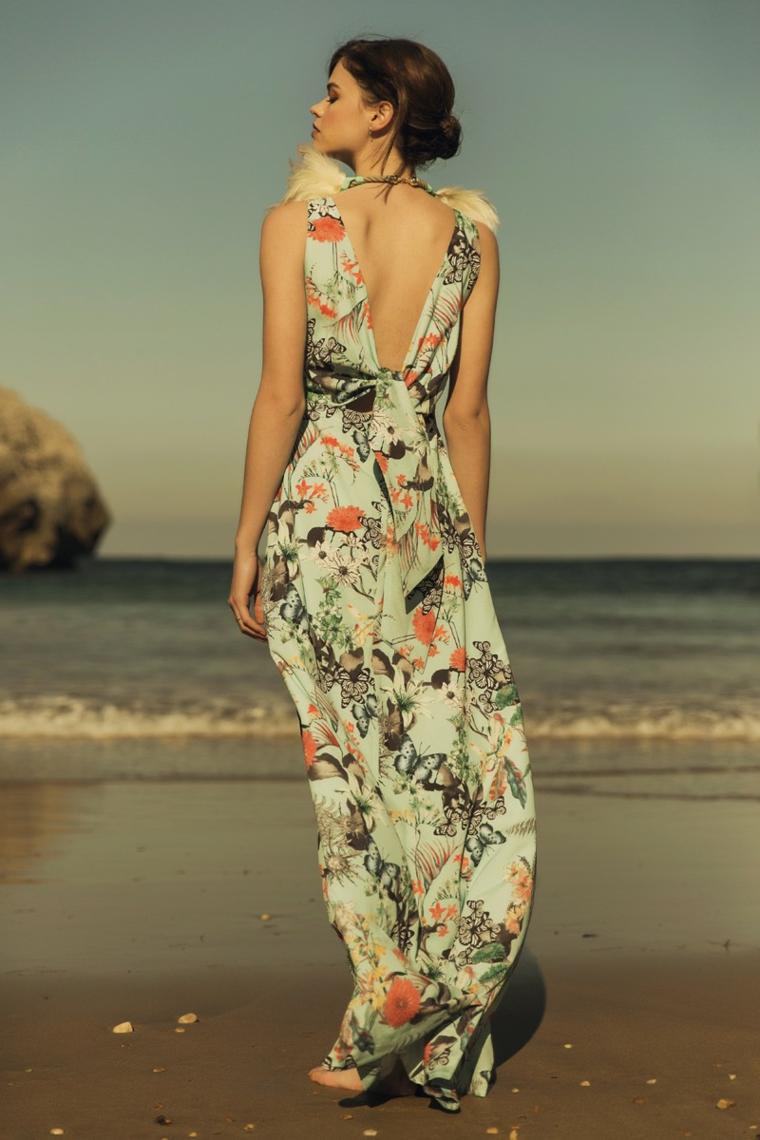 Abiti da cerimonia lunghi con stampe floreali, vestito con schiena scoperta per una cerimonia in spiaggia