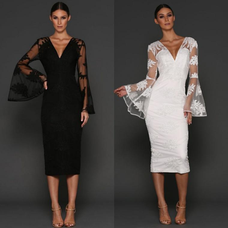 Vestiti lunghi eleganti di Elle Zeitoune di colore bianco e nero con maniche lunghe di pizzo