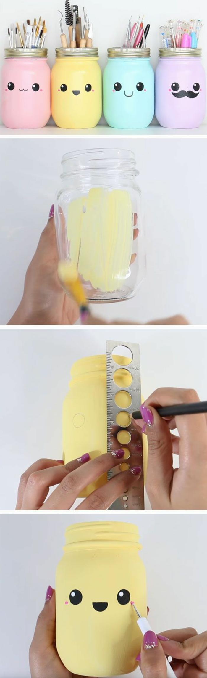 Tutorial per creare delle portapenne da barattoli di vetro colorati e decorati