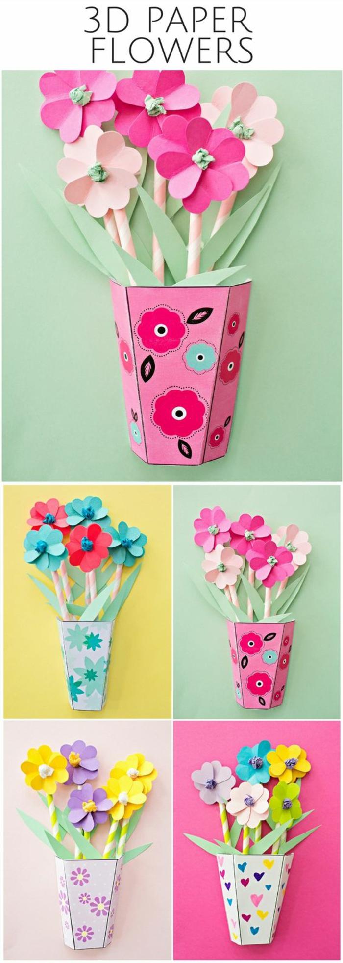 Vaso con fiori colorati realizzati con il fai da te e cartoncini spessi