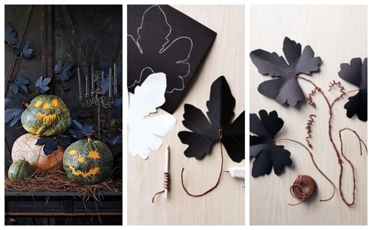 Tutorial come realizzare una ghirlanda di foglie di colore nero con filo di ferro