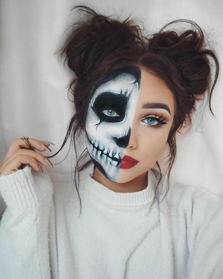 Trucchi semplici per Halloween, ragazza truccata metà faccia con disegno di scheletro