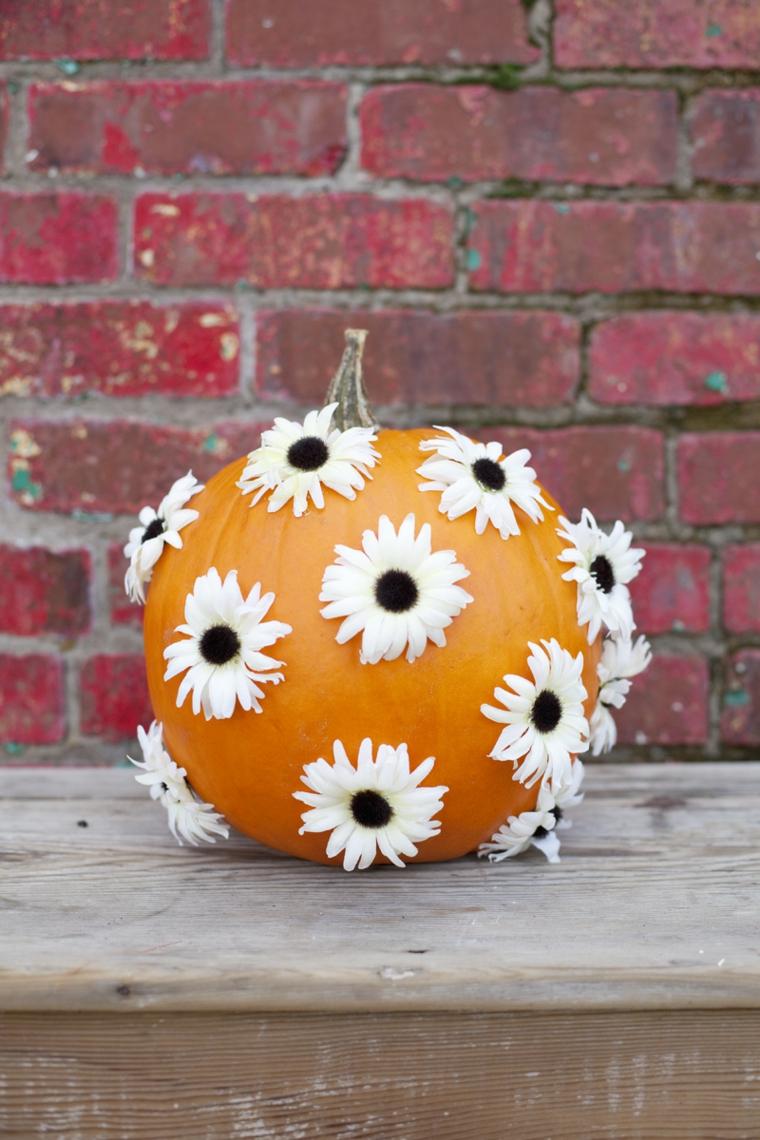 Foto zucche halloween e una decorata con margherite bianche incollate