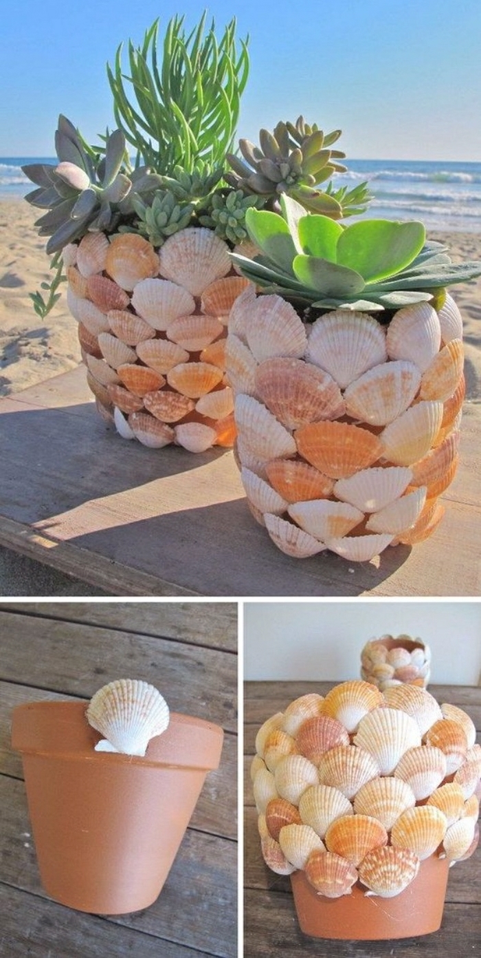 Lavori fatti a mano e una proposta con un vaso di terracotta ricoperto con delle conchiglie