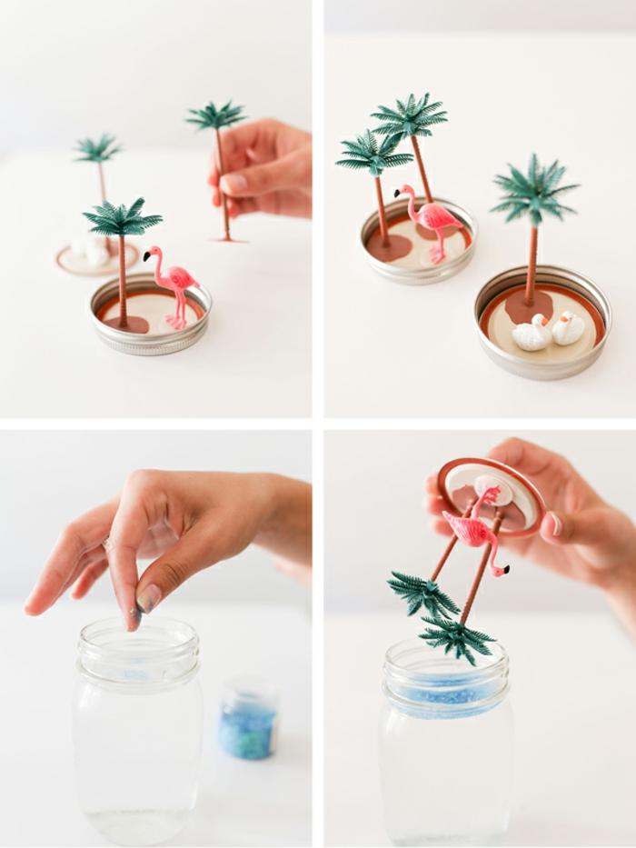 Tutorial idee artigianali con del barattolo di vetro e un globo di neve estivo con fenicottero e palme
