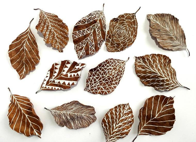 Immagini foglie autunnali e un'idea per dei disegni con pennarello bianco