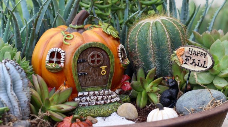 Immagini foglie autunnali e un'idea per la decorazione con una zucca ornamentale e piante grasse