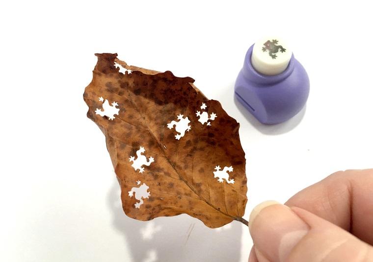 Gli sfondi più belli al mondo, immagine con foglia secca e timbro di rana