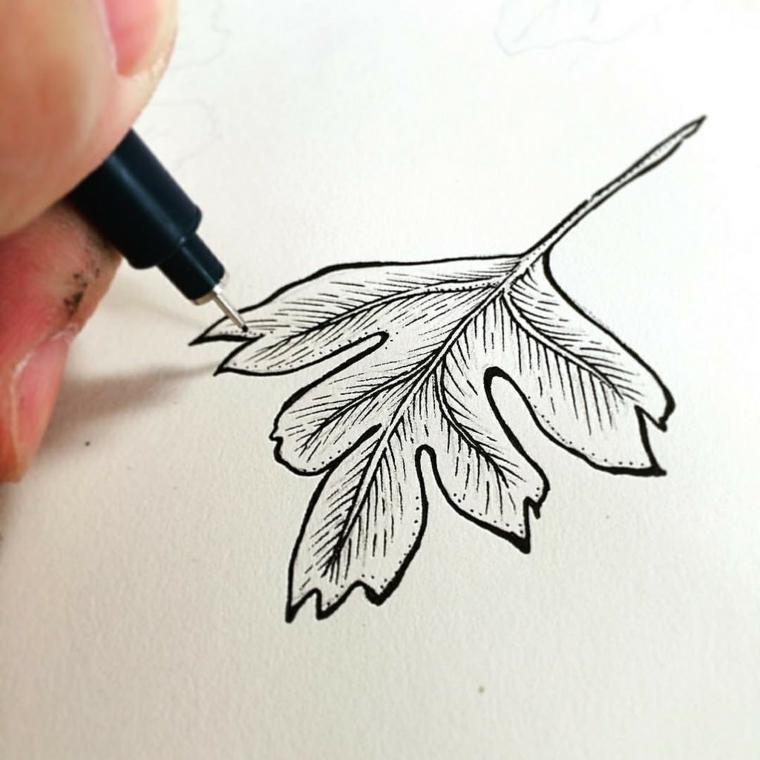 Immagini autunnali bellissime e un'idea con il disegno di una foglia disegnata su un foglio bianco