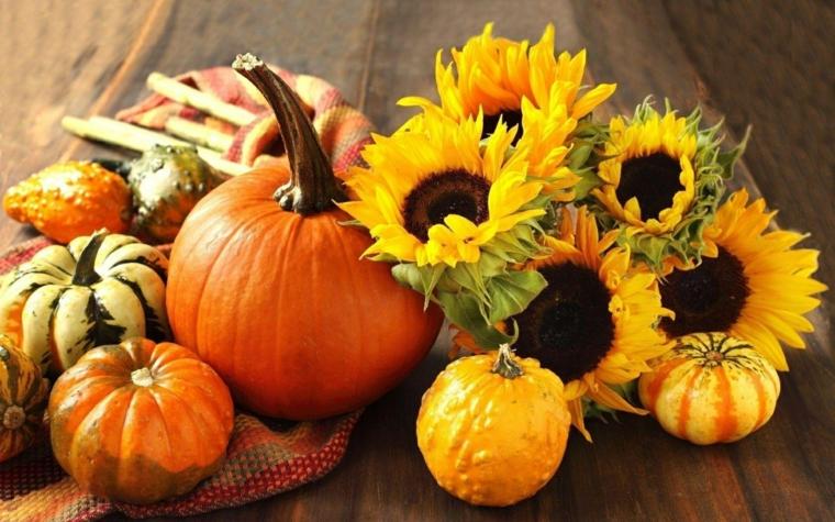 Immagini foglie autunnali e zucche grandi e piccole, bouquet di girasoli come centrotavola