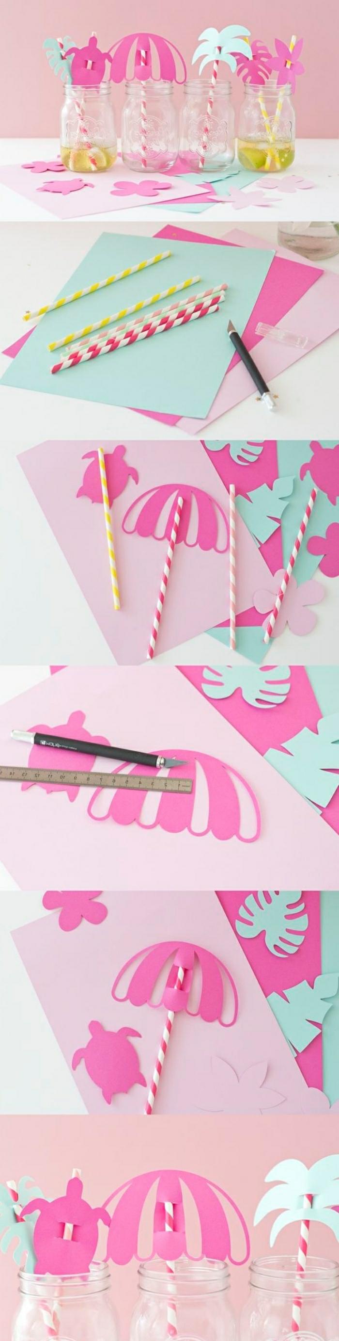 Attività innovative fai da te con carta e cannucce colorate, idea creativa per l'estate