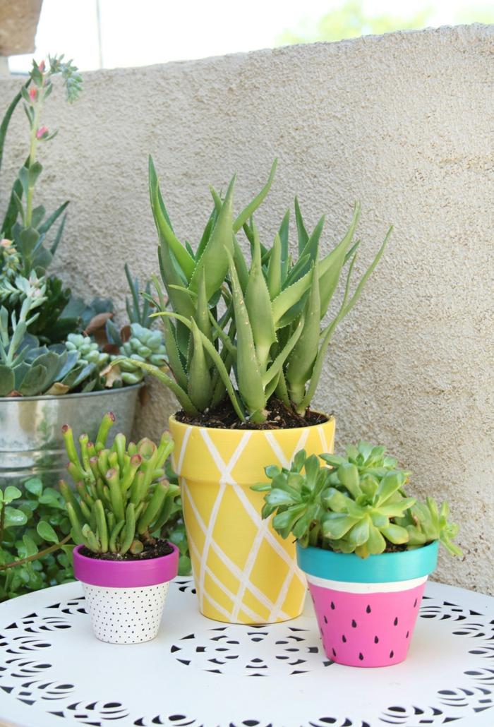 Idee lavoro fai da te per realizzare dei vasi di terracotta con dei disegni di frutta esotica