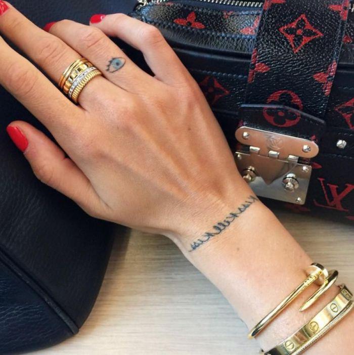 Idea per un tatuaggio sul dito anulare di un occhio e scritta sul polso della mano