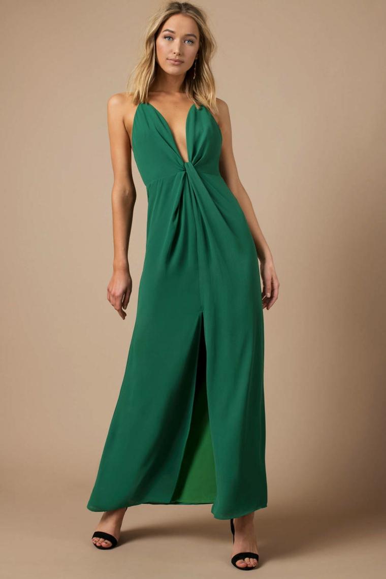 Abito schiena scoperta, vestito elegante con spacco davanti di colore verde