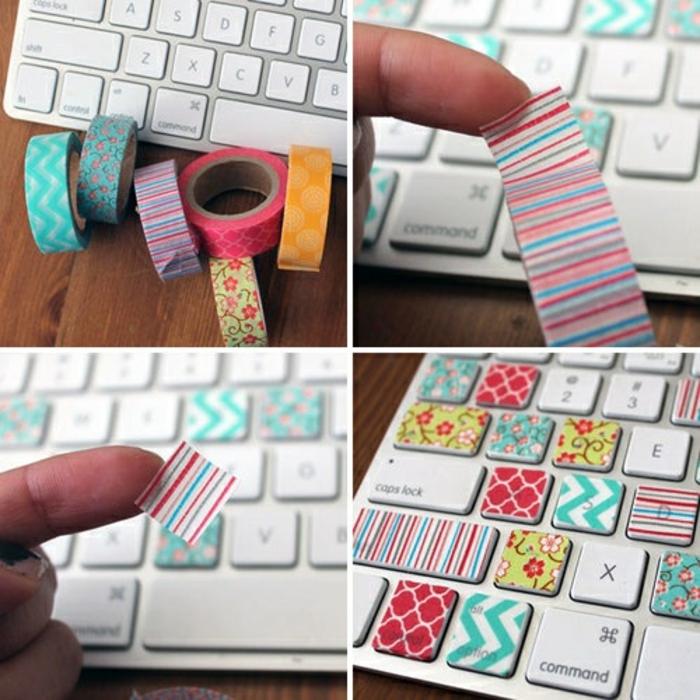 La tastiera del mousse decorata con del nastro washi tape colorato