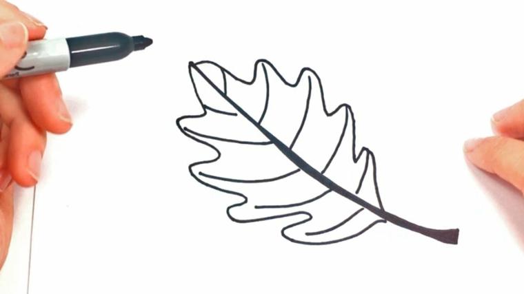 Il disegno di una foglia con pennarello nero, immagini paesaggi autunnali