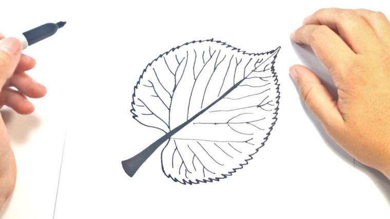Immagini paesaggi autunnali e un'idea con il disegno a matita di una foglia d'autunno