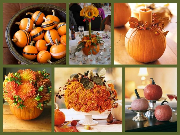 Collage di foto di zucche e fiori autunnali in vasi come centrotavola