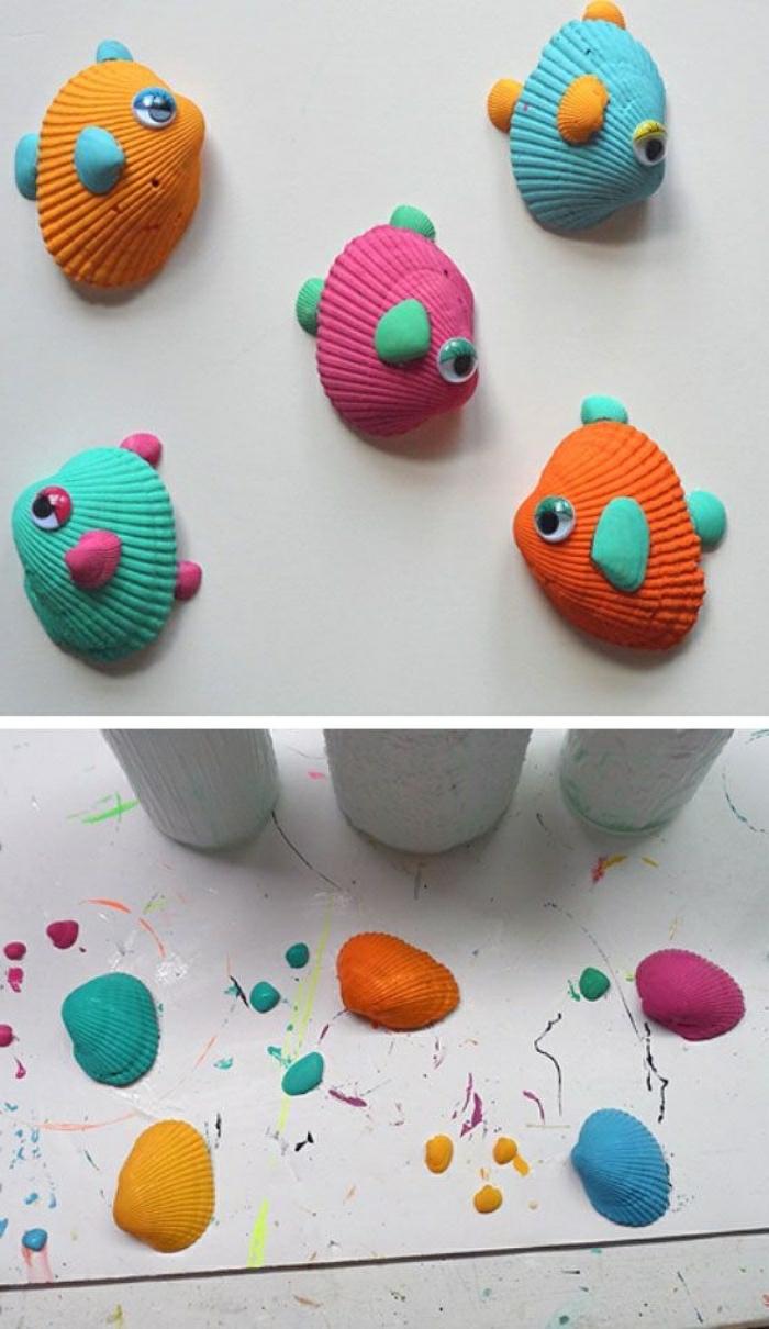 Pesciolini di conchiglie decorate con occhi e piccolo tutorial per la creazione