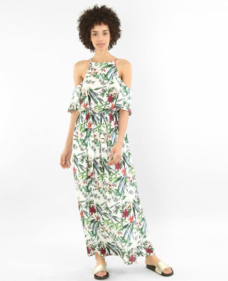 Vestiti eleganti estivi con stampe floreali, abito lungo con spalle scoperte per un matrimonio in spiaggia