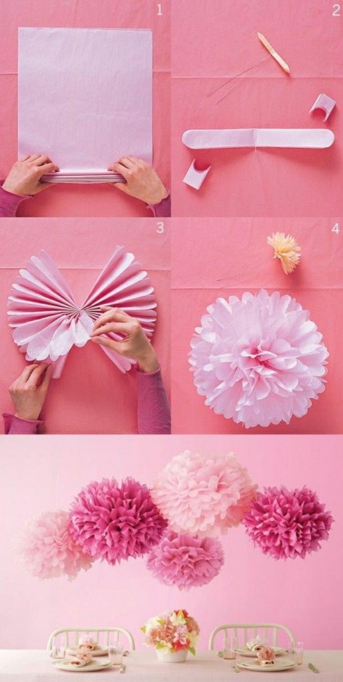 Lavori fatti a mano con della carta, tutorial per creare dei fiori per decorare il tavolo