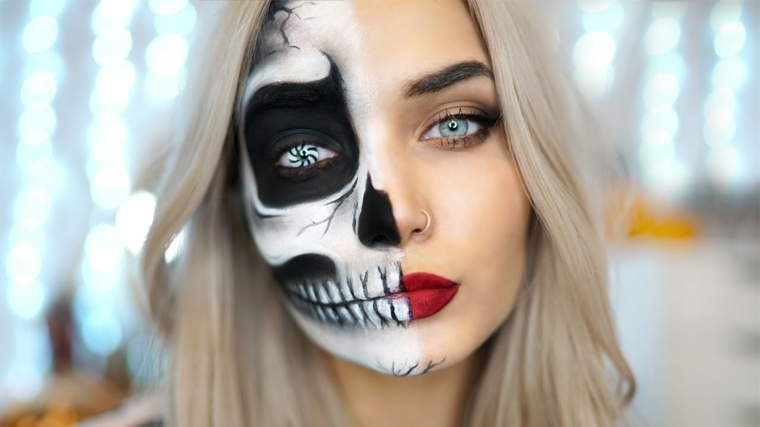 Idea per un make up Halloween da metà faccia scheletro di colore bianco e nero