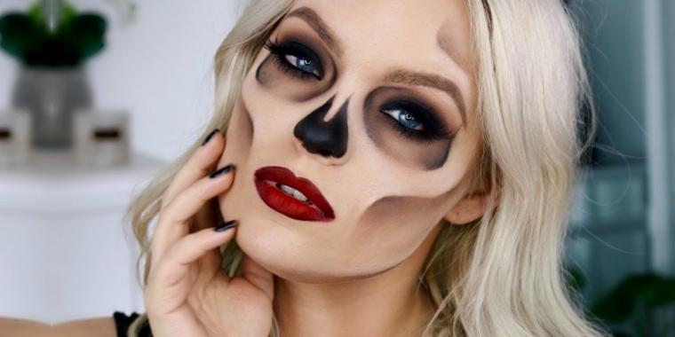 Contouring correttore e eyeliner per creare un make up da scheletro per Halloween