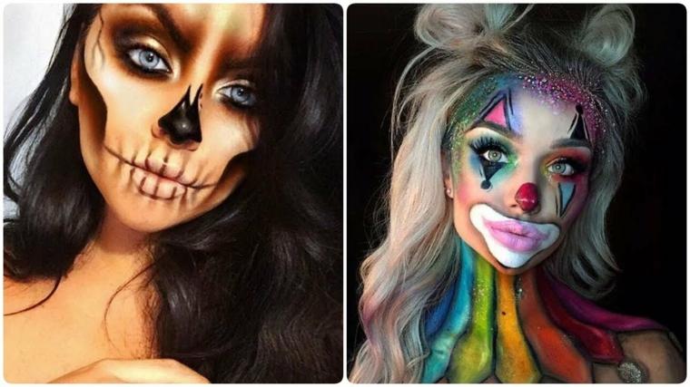 Trucchi semplici per Halloween, due ragazze una truccata come scheletro e l'altra come un pagliaccio